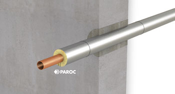 Pipe penetration insulated with PAROC Hvac Section AluCoat T